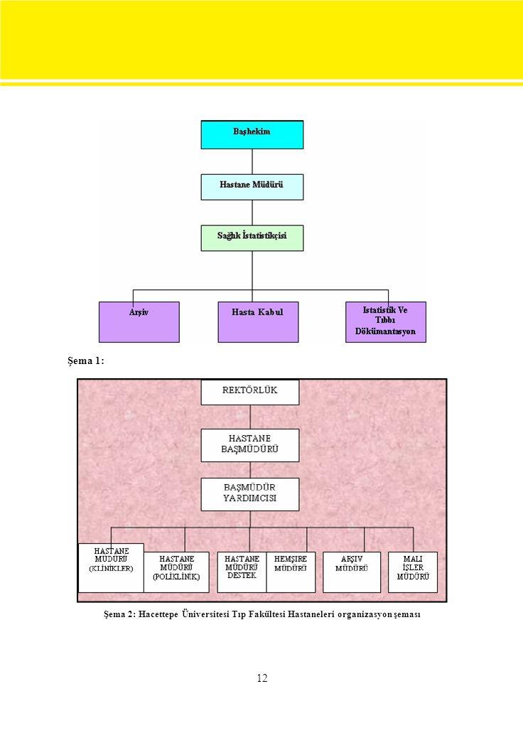 Şema 1: Şema 2: Hacettepe Üniversitesi Tıp Fakültesi Hastaneleri organizasyon şeması 12