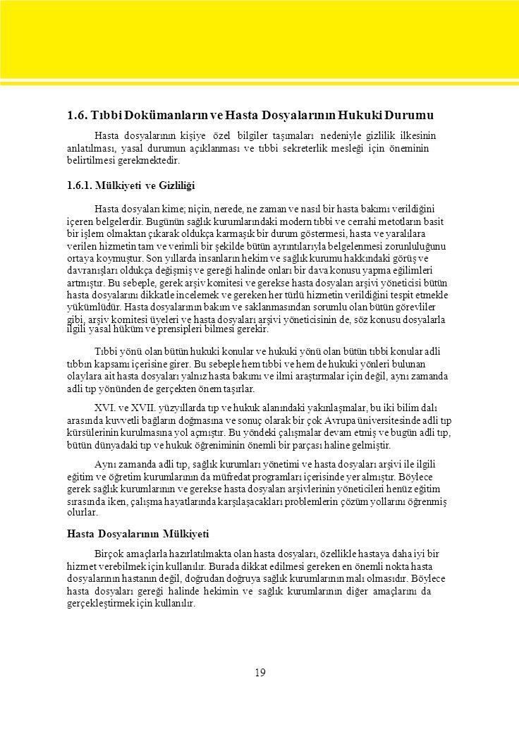 1.6. Tıbbi Dokümanların ve Hasta Dosyalarının Hukuki Durumu