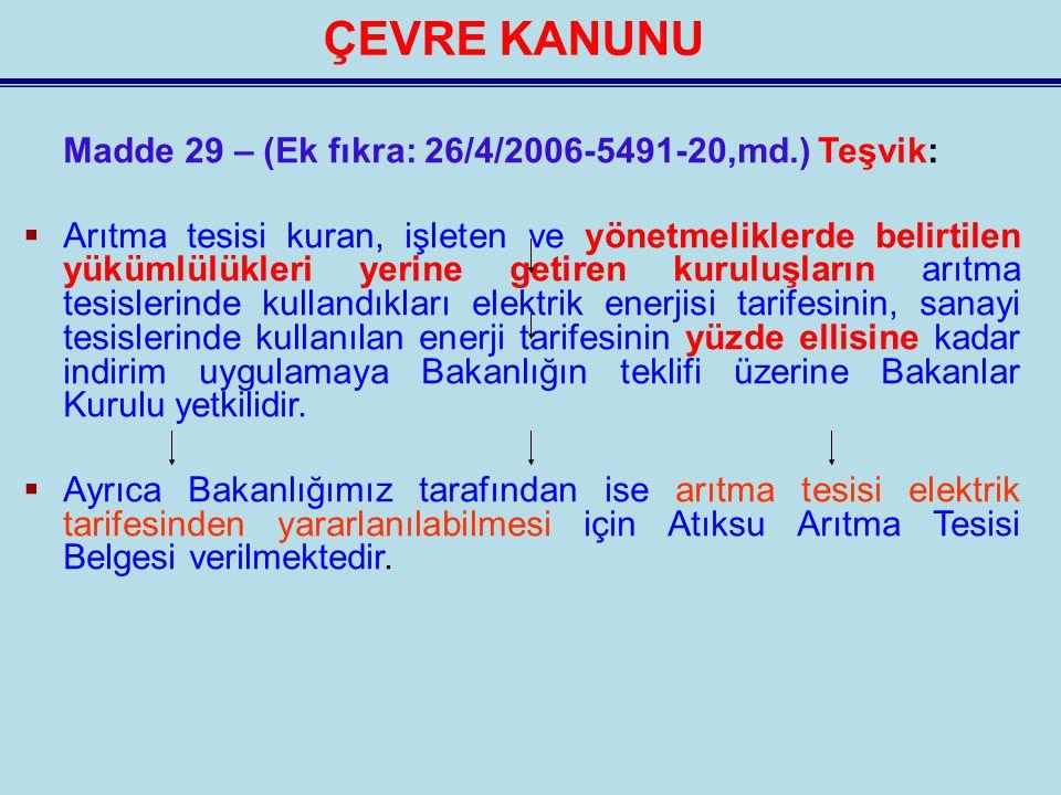ÇEVRE KANUNU Madde 29 – (Ek fıkra: 26/4/2006-5491-20,md.) Teşvik: