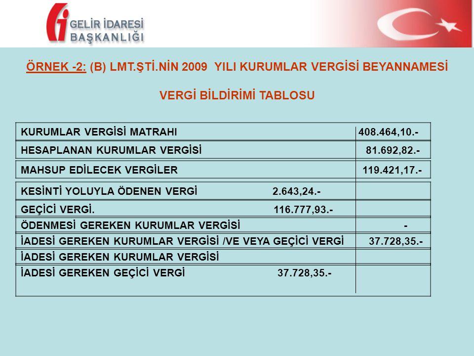 ÖRNEK -2: (B) LMT.ŞTİ.NİN 2009 YILI KURUMLAR VERGİSİ BEYANNAMESİ