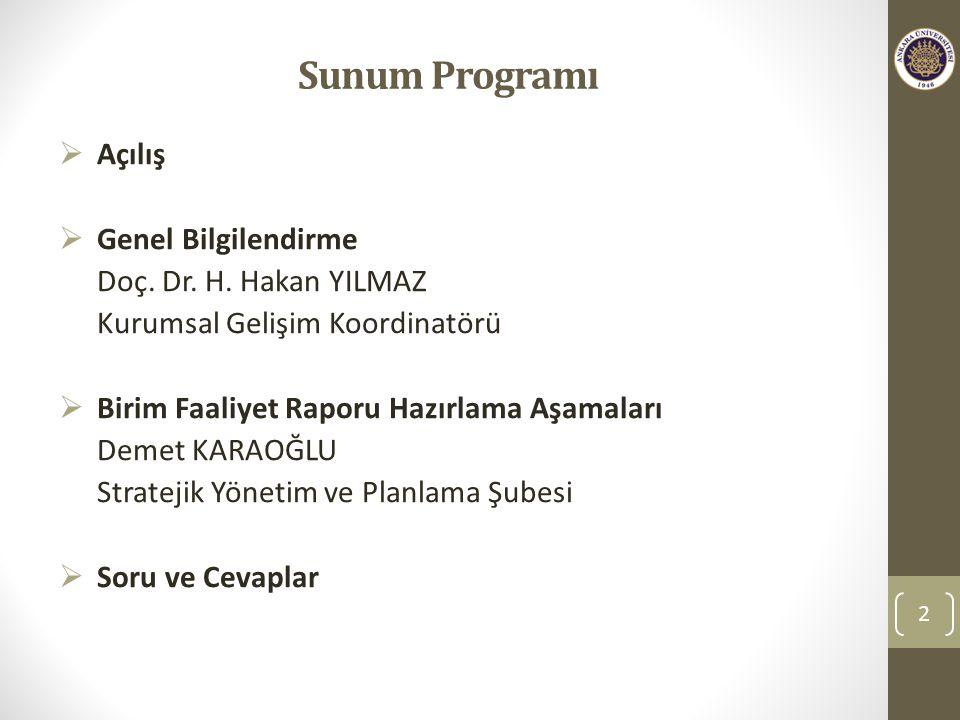 Sunum Programı Açılış Genel Bilgilendirme Doç. Dr. H. Hakan YILMAZ