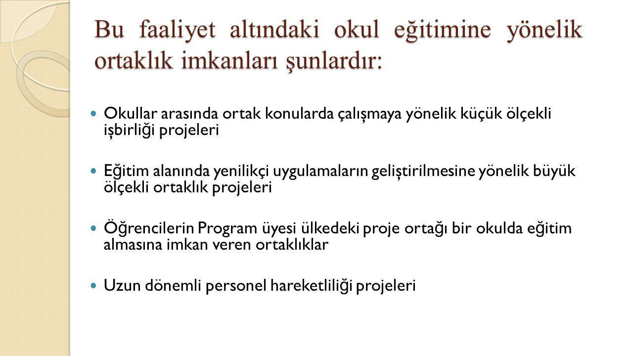 Bu faaliyet altındaki okul eğitimine yönelik ortaklık imkanları şunlardır: