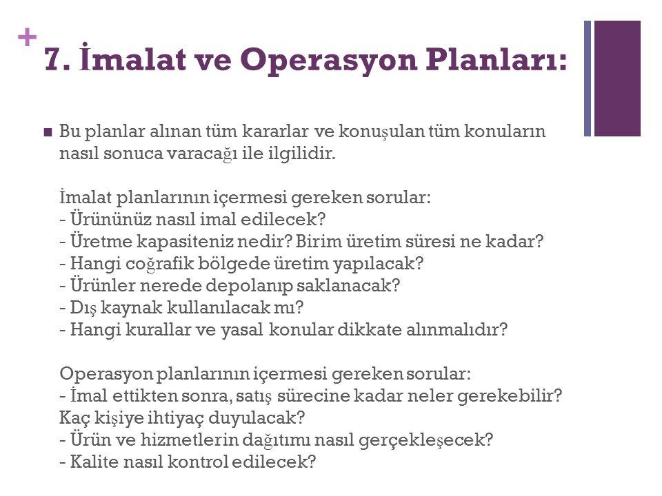 7. İmalat ve Operasyon Planları: