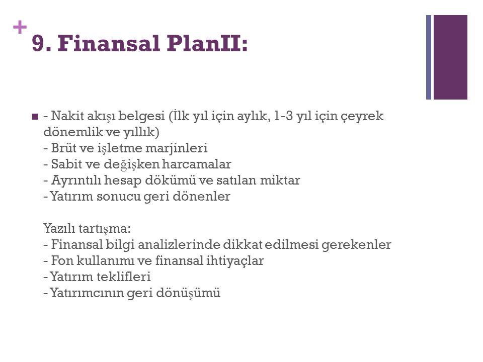 9. Finansal PlanII: