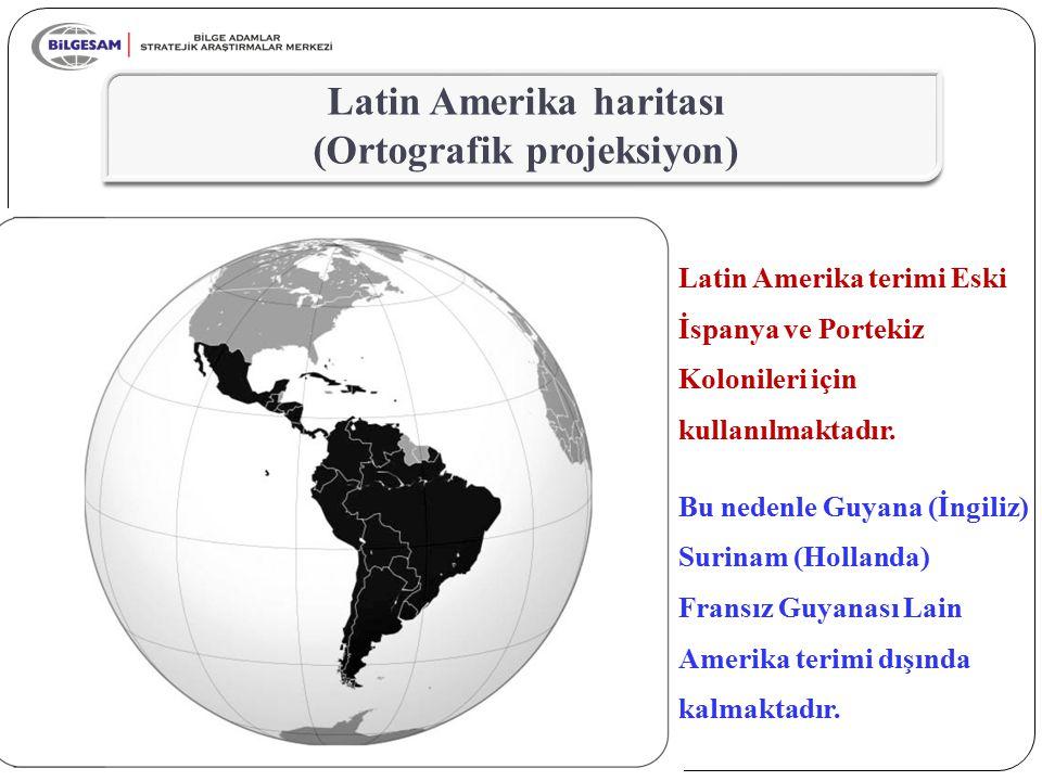 Latin Amerika haritası (Ortografik projeksiyon)