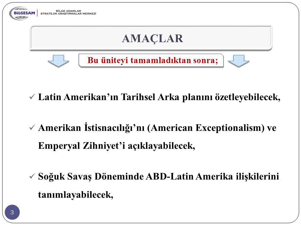 AMAÇLAR Latin Amerikan'ın Tarihsel Arka planını özetleyebilecek,