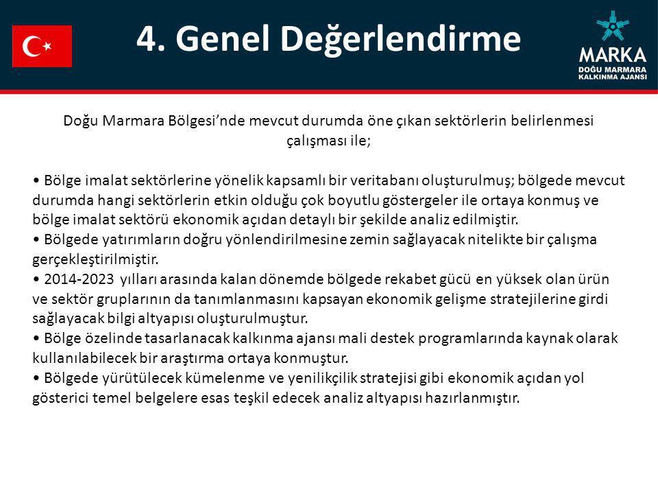 4. Genel Değerlendirme Doğu Marmara Bölgesi'nde mevcut durumda öne çıkan sektörlerin belirlenmesi çalışması ile;