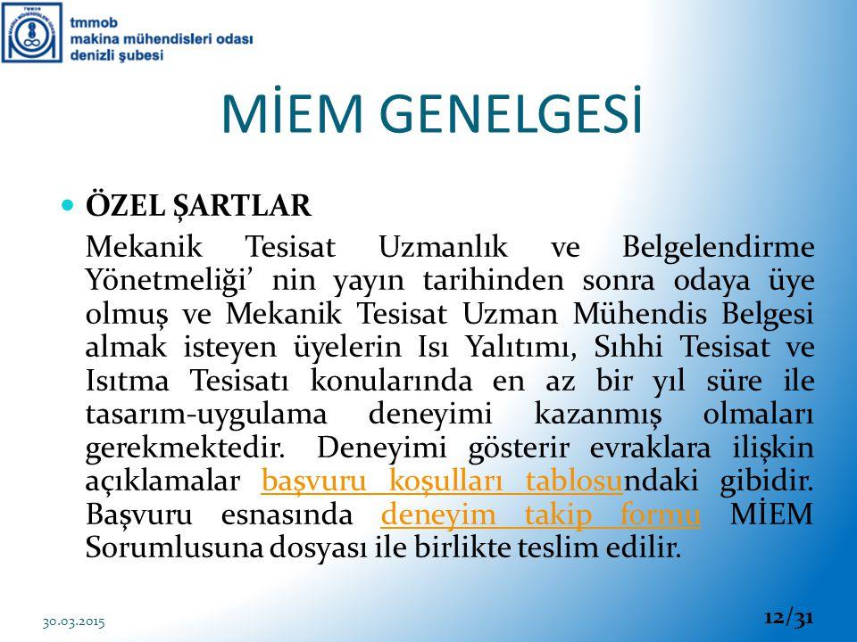 MİEM GENELGESİ ÖZEL ŞARTLAR