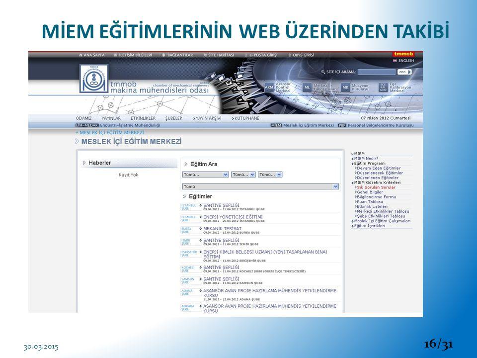 MİEM EĞİTİMLERİNİN WEB ÜZERİNDEN TAKİBİ