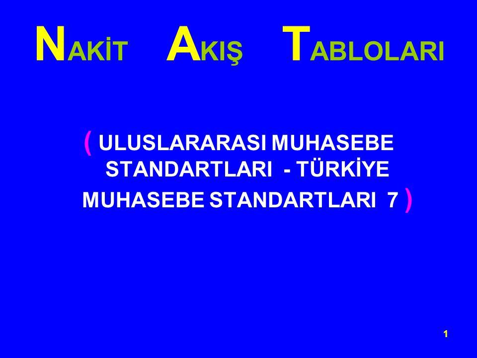 NAKİT AKIŞ TABLOLARI ( ULUSLARARASI MUHASEBE STANDARTLARI - TÜRKİYE MUHASEBE STANDARTLARI 7 )