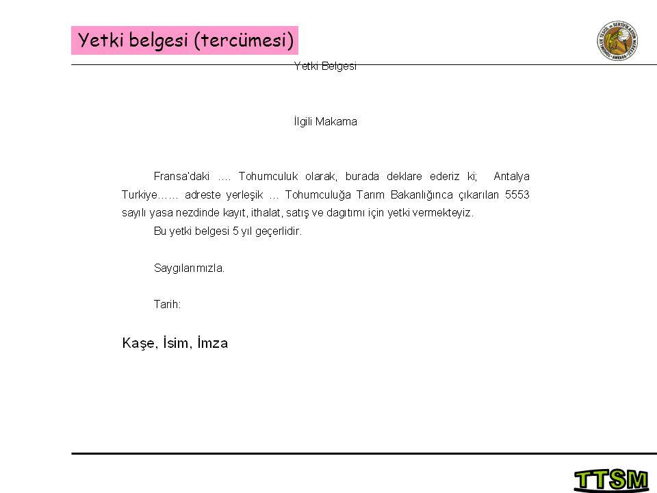 Yetki belgesi (tercümesi)