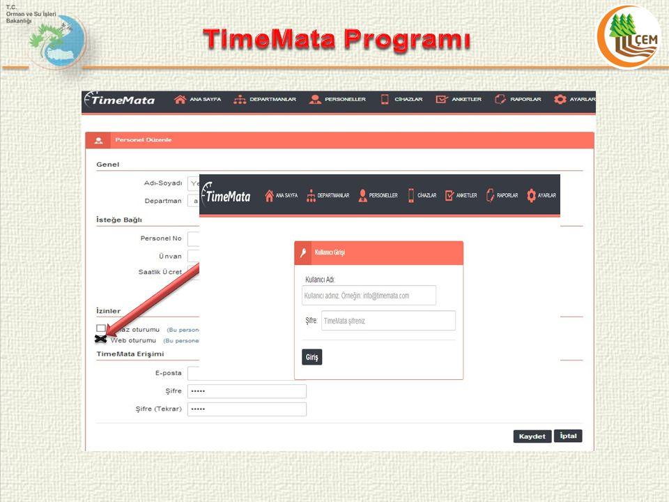 TimeMata Programı Personel Ekleme Butonu Düzenleme Butonu