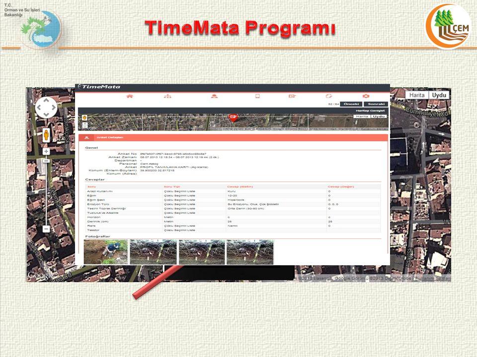 TimeMata Programı Cihazlar sekmesiyle hangi cihazların nerede kullanıldıgı ve logları gorulebilir.