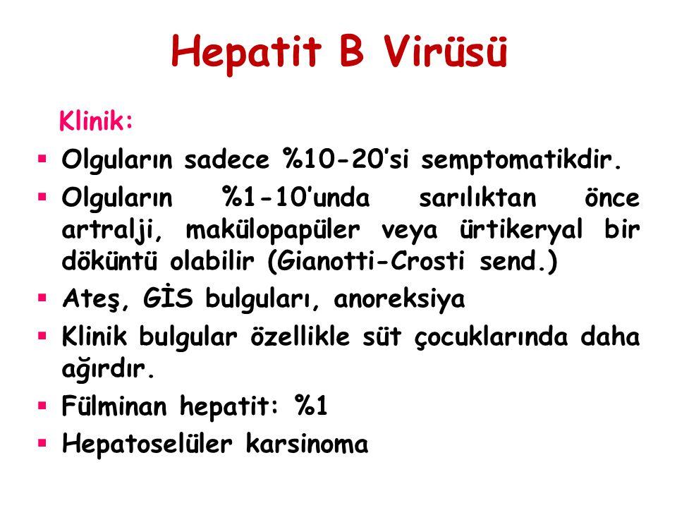 Hepatit B Virüsü Klinik: Olguların sadece %10-20'si semptomatikdir.