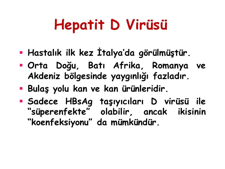 Hepatit D Virüsü Hastalık ilk kez İtalya'da görülmüştür.
