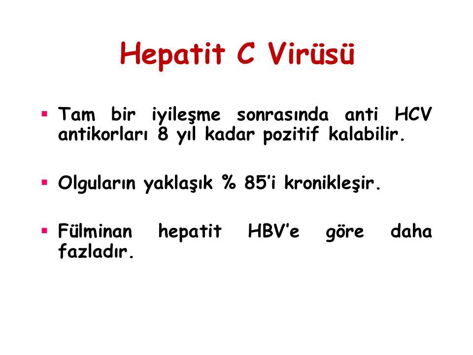 Hepatit C Virüsü Tam bir iyileşme sonrasında anti HCV antikorları 8 yıl kadar pozitif kalabilir. Olguların yaklaşık % 85'i kronikleşir.