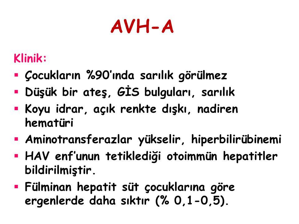 AVH-A Klinik: Çocukların %90'ında sarılık görülmez