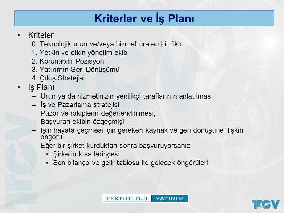 Kriterler ve İş Planı Kriteler İş Planı