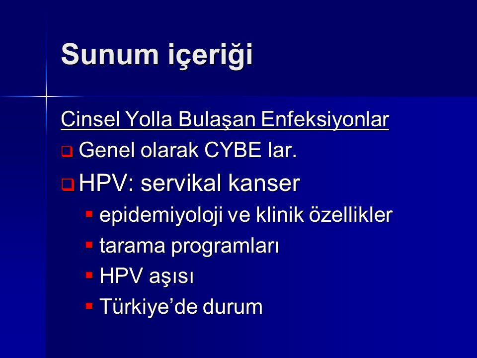 Sunum içeriği HPV: servikal kanser Cinsel Yolla Bulaşan Enfeksiyonlar