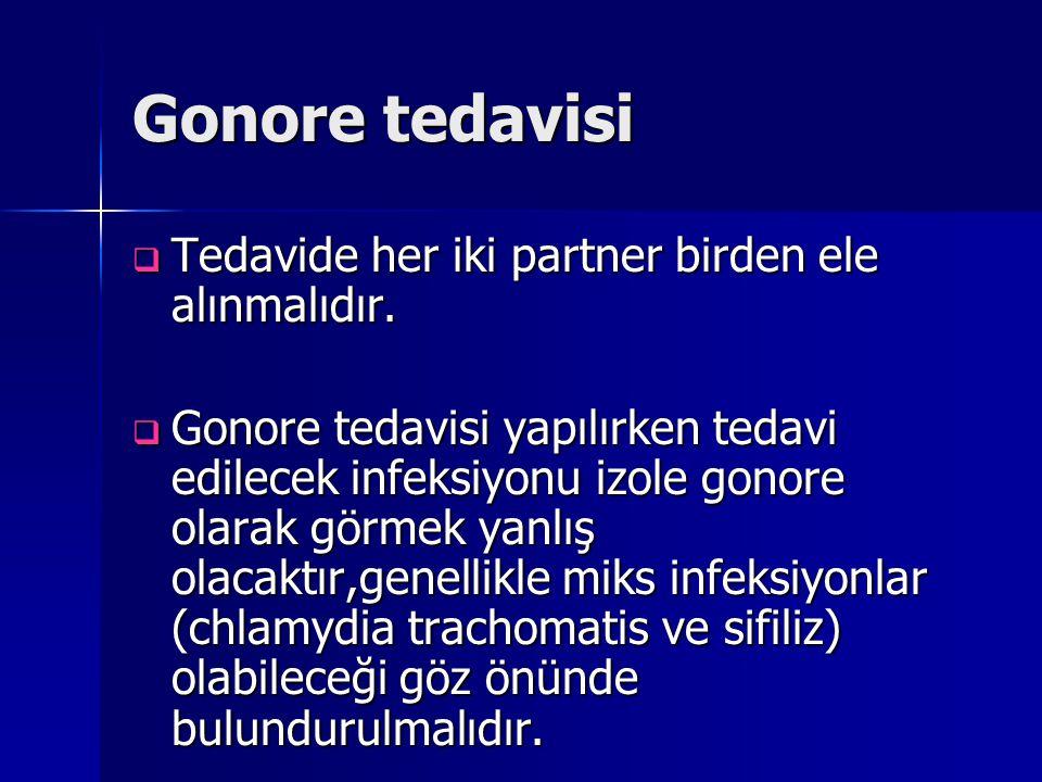 Gonore tedavisi Tedavide her iki partner birden ele alınmalıdır.
