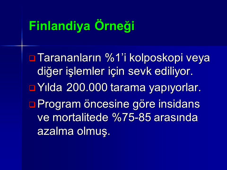 Finlandiya Örneği Tarananların %1'i kolposkopi veya diğer işlemler için sevk ediliyor. Yılda 200.000 tarama yapıyorlar.