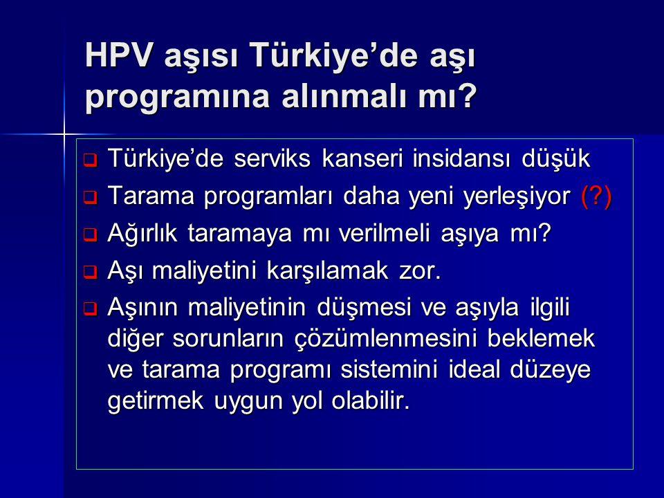 HPV aşısı Türkiye'de aşı programına alınmalı mı