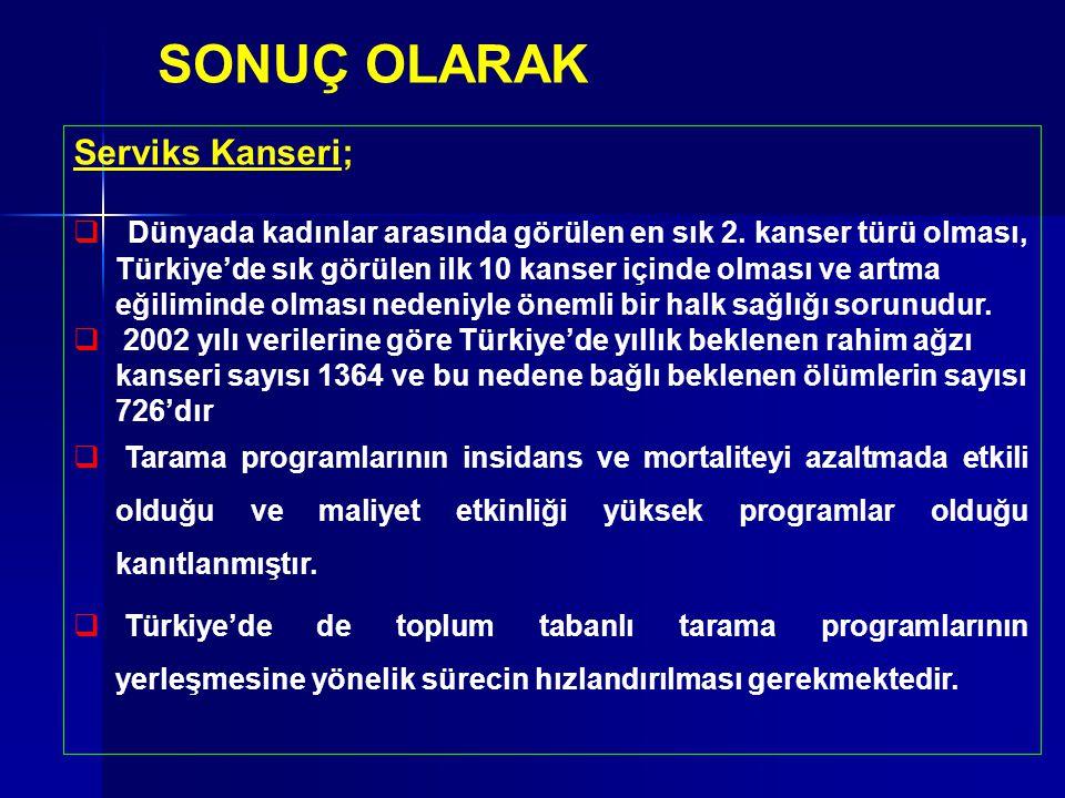 SONUÇ OLARAK Serviks Kanseri;