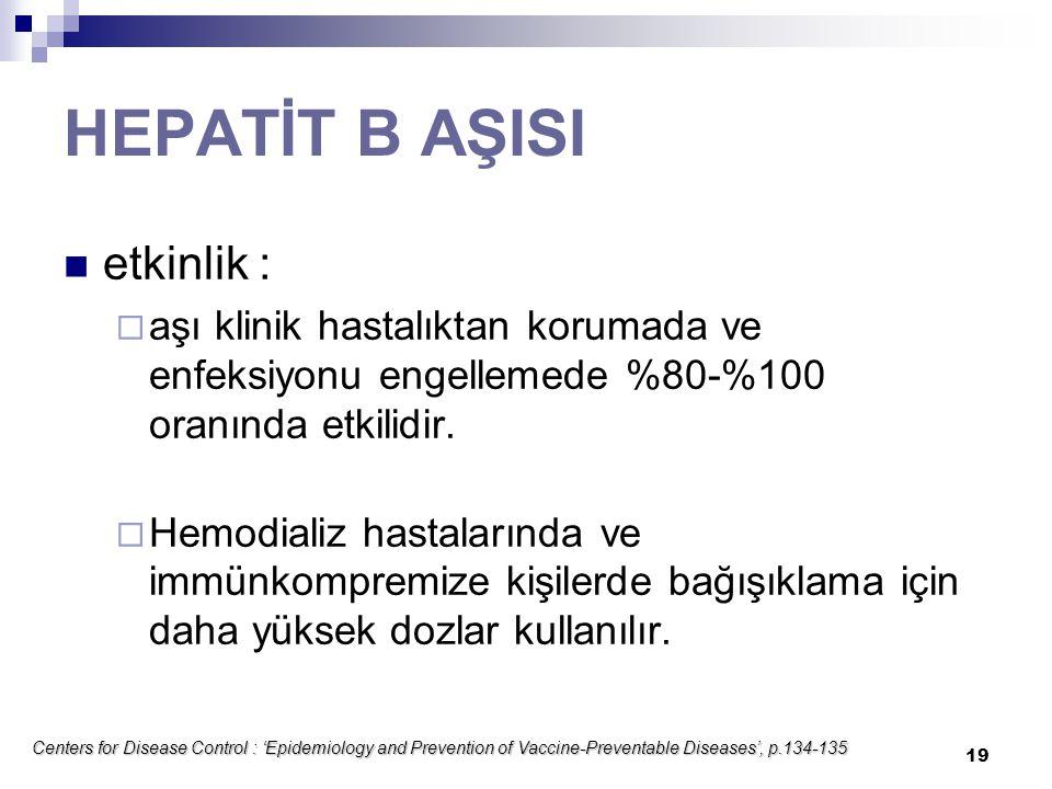 HEPATİT B AŞISI etkinlik :