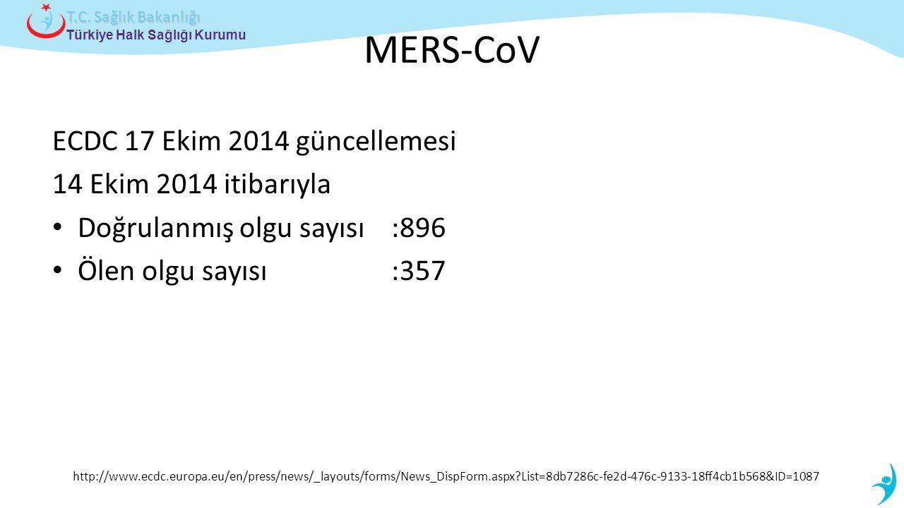 MERS-CoV ECDC 17 Ekim 2014 güncellemesi 14 Ekim 2014 itibarıyla