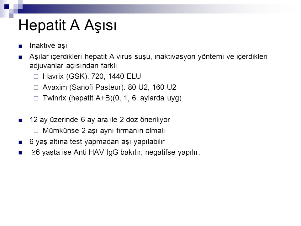 Hepatit A Aşısı İnaktive aşı