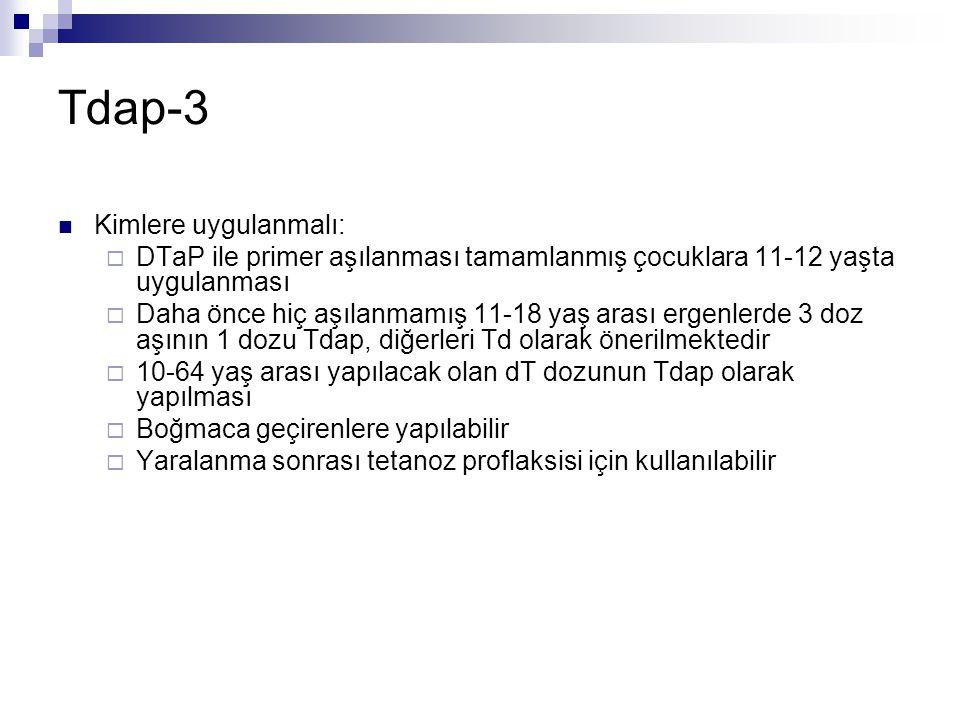 Tdap-3 Kimlere uygulanmalı:
