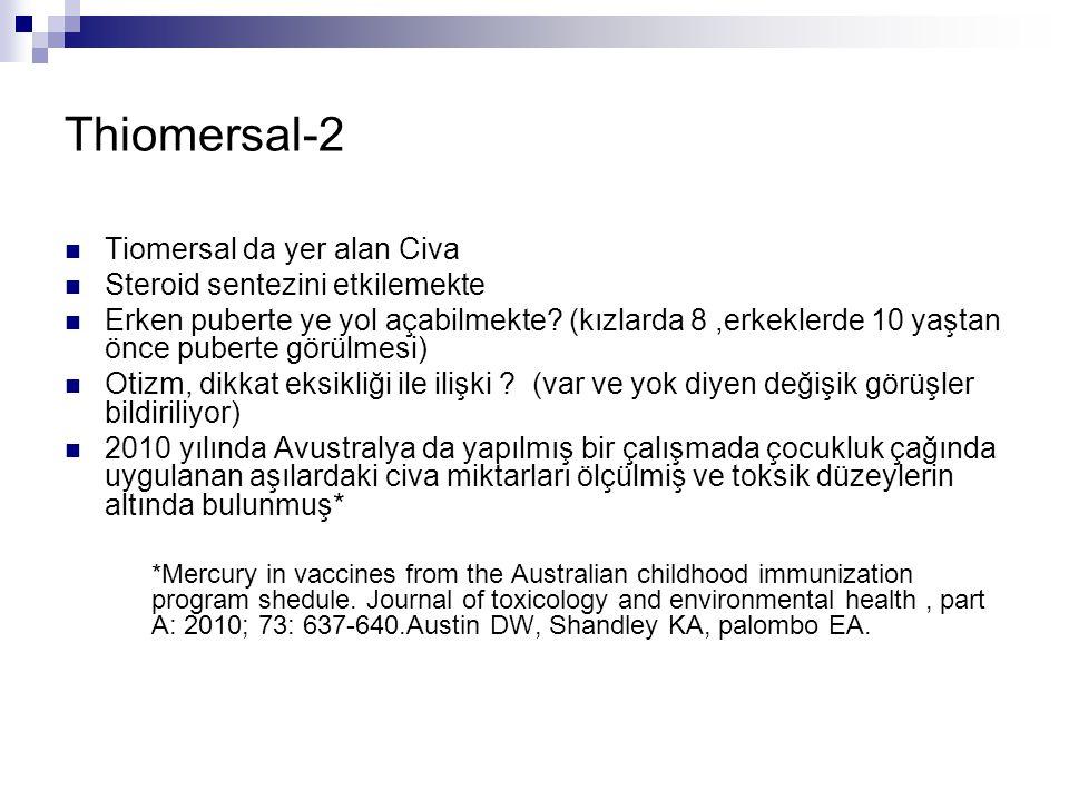 Thiomersal-2 Tiomersal da yer alan Civa Steroid sentezini etkilemekte