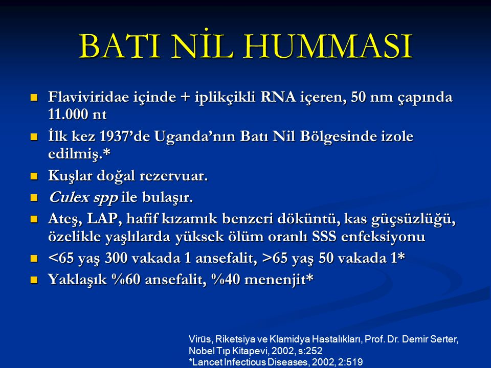BATI NİL HUMMASI Flaviviridae içinde + iplikçikli RNA içeren, 50 nm çapında 11.000 nt.