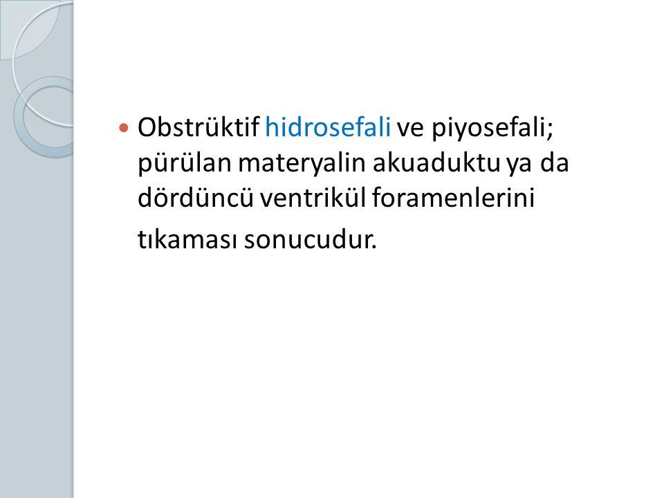 Obstrüktif hidrosefali ve piyosefali; pürülan materyalin akuaduktu ya da dördüncü ventrikül foramenlerini