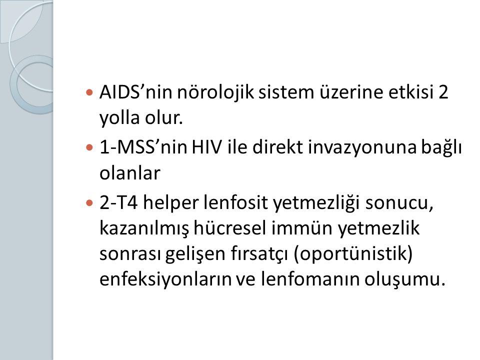 AIDS'nin nörolojik sistem üzerine etkisi 2 yolla olur.