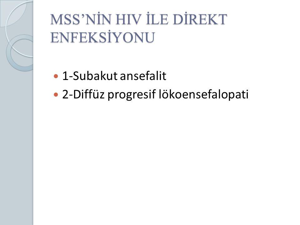 MSS'NİN HIV İLE DİREKT ENFEKSİYONU