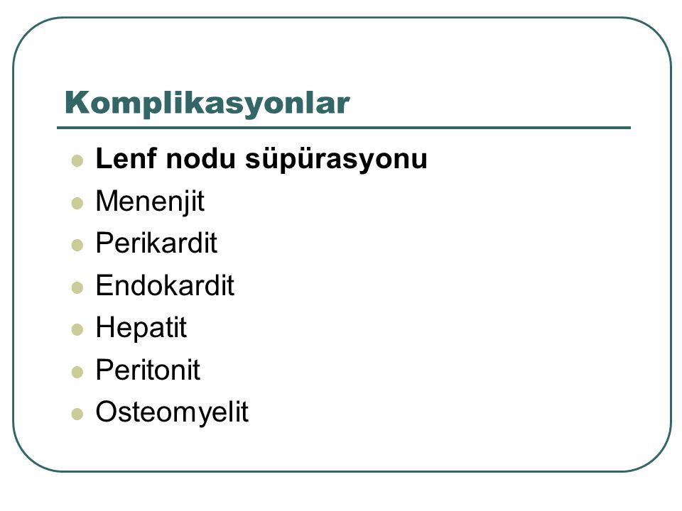 Komplikasyonlar Lenf nodu süpürasyonu Menenjit Perikardit Endokardit