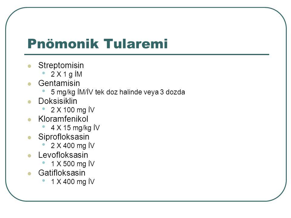 Pnömonik Tularemi Streptomisin Gentamisin Doksisiklin Kloramfenikol
