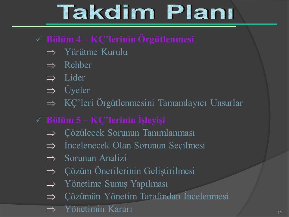 Takdim Planı Bölüm 4 – KÇ'lerinin Örgütlenmesi  Yürütme Kurulu