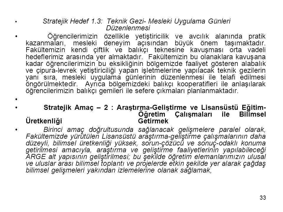 Stratejik Hedef 1. 3: Teknik Gezi- Mesleki Uygulama Günleri