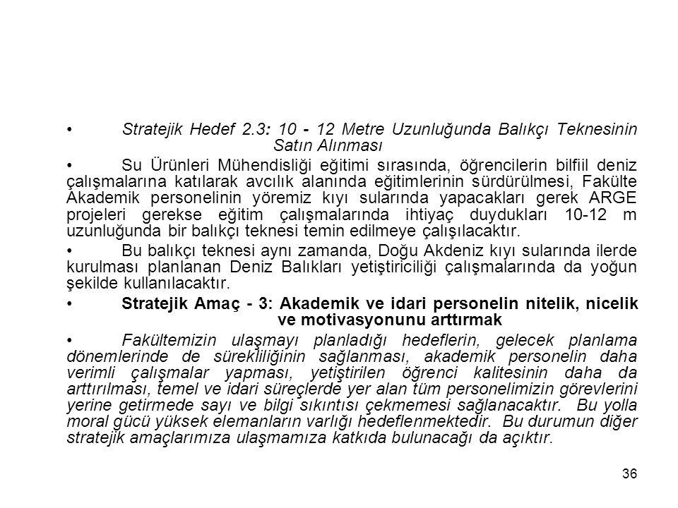 Stratejik Hedef 2. 3: 10 - 12 Metre Uzunluğunda Balıkçı Teknesinin