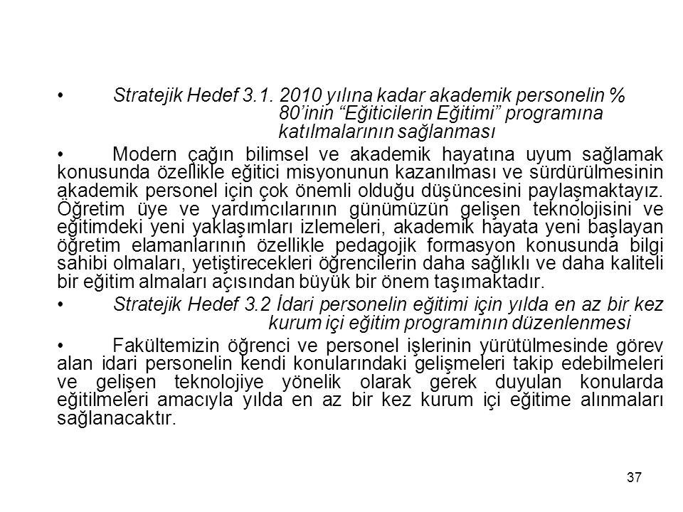 Stratejik Hedef 3. 1. 2010 yılına kadar akademik personelin %