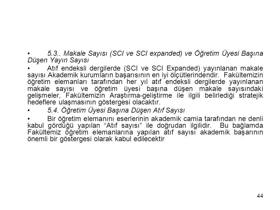 5.3.. Makale Sayısı (SCI ve SCI expanded) ve Öğretim Üyesi Başına Düşen Yayın Sayısı