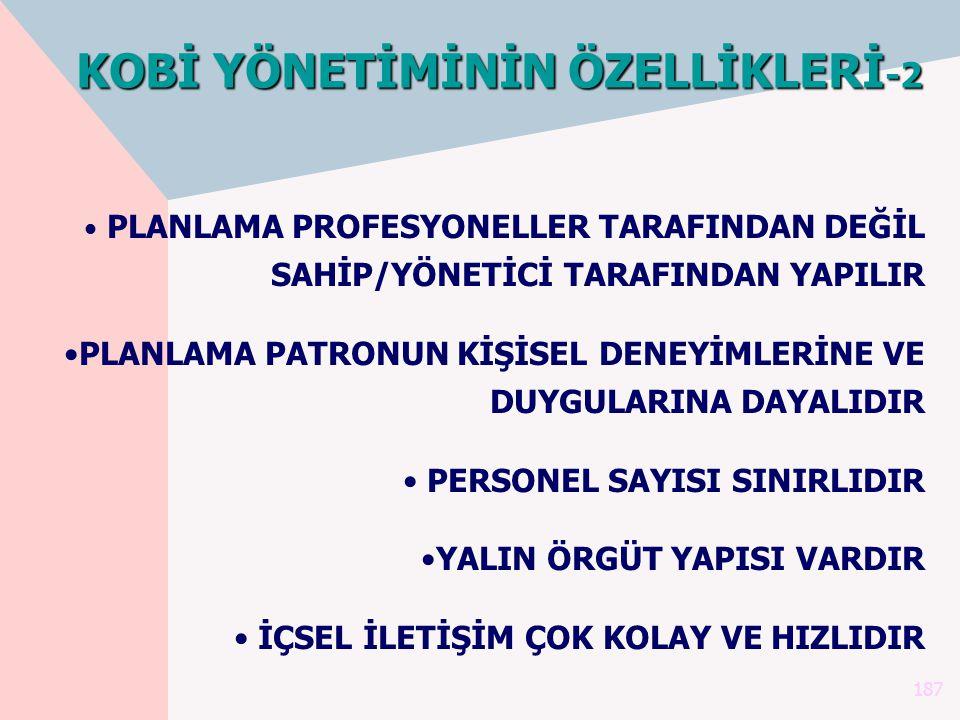 KOBİ YÖNETİMİNİN ÖZELLİKLERİ-2