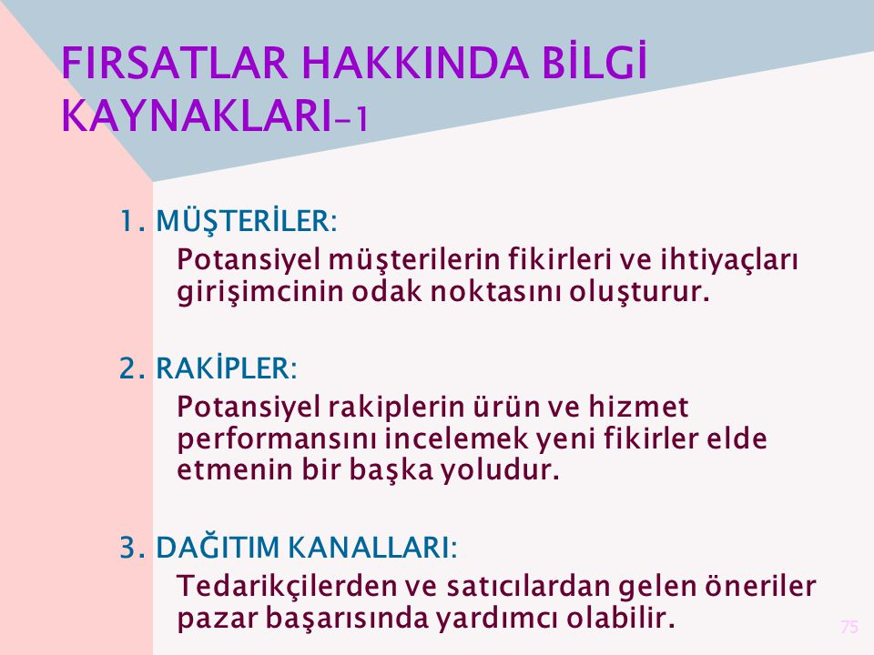 FIRSATLAR HAKKINDA BİLGİ KAYNAKLARI-1