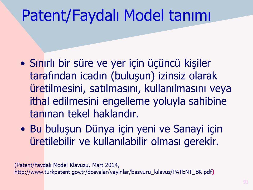 Patent/Faydalı Model tanımı