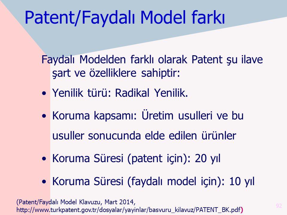 Patent/Faydalı Model farkı