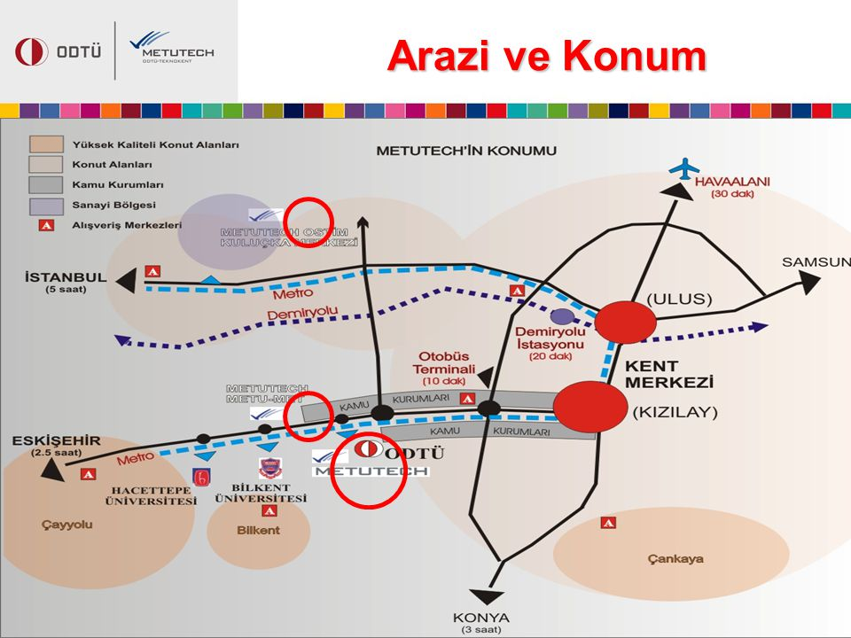 Arazi ve Konum The property ship rights of the METU-Technopolis development region belongs to METU.