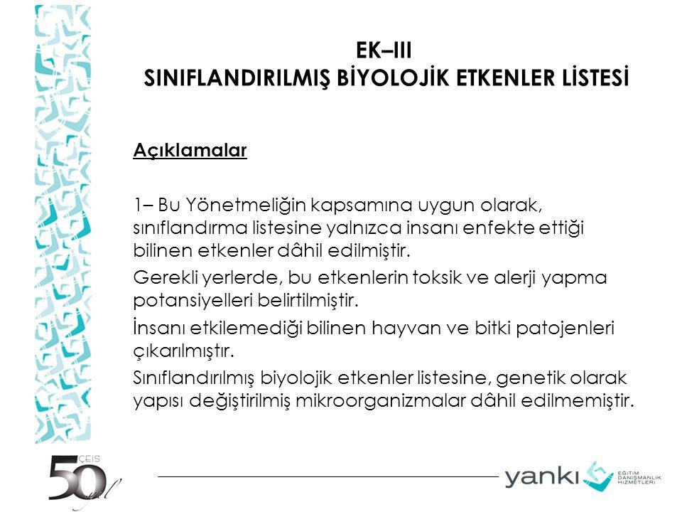 EK–III SINIFLANDIRILMIŞ BİYOLOJİK ETKENLER LİSTESİ