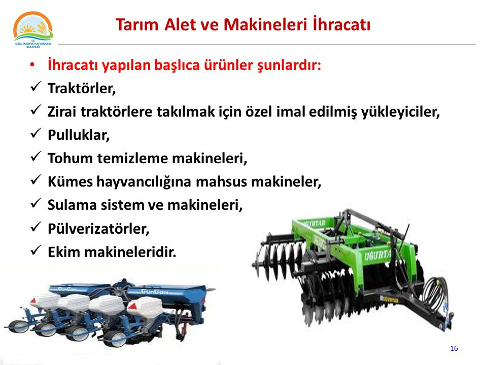 Tarım Alet ve Makineleri İhracatı
